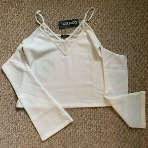 BooHoo white tank with attached sleeves
